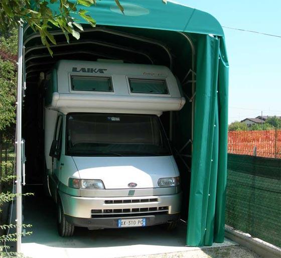 Box auto camper for Copertura auto richiudibile